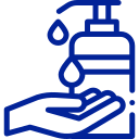 Icon einer Hand und Desinfektionsflasche